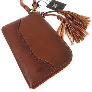 Frye Paige cognac leather wristlet wallet